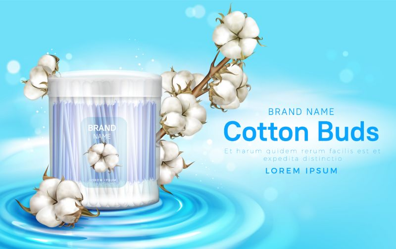 Cotton buds in plastic container and cotton  #651