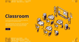 Free vector. Classroom isometric landing page, school or university  #632