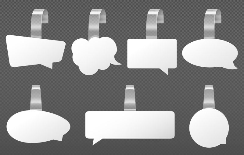 White wobblers speech bubbles mockup. Different shapes  #139