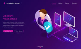 Account verification isometric landing page, smartphone, computer  #437