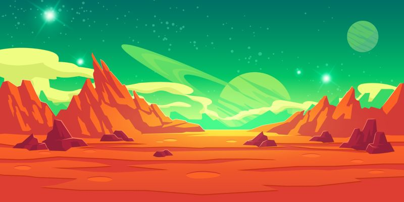 Free vector. Mars landscape, alien planet background, red desert  #780