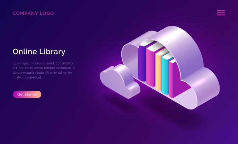 Online library isometric concept vector illustration. Virtual  #339