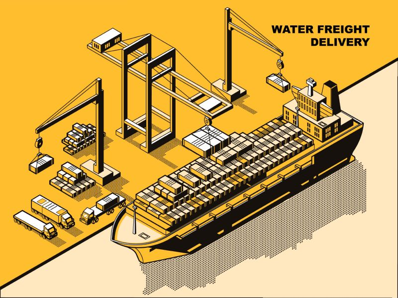 Water freight delivery, yellow isometric line art  #326
