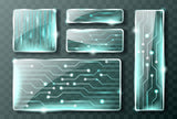 Glass technology micro circuit banners, realistic vector  #799