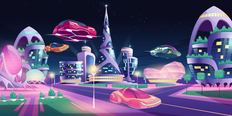 Future night city with flying cars and  #64