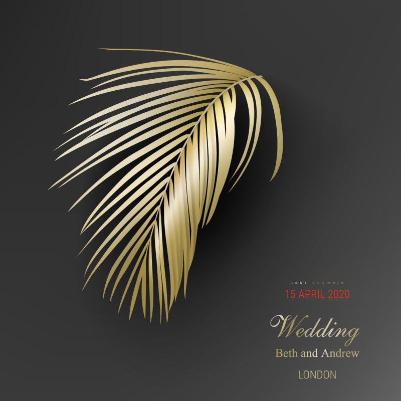 Tropical golden palm leaves on black background  #218
