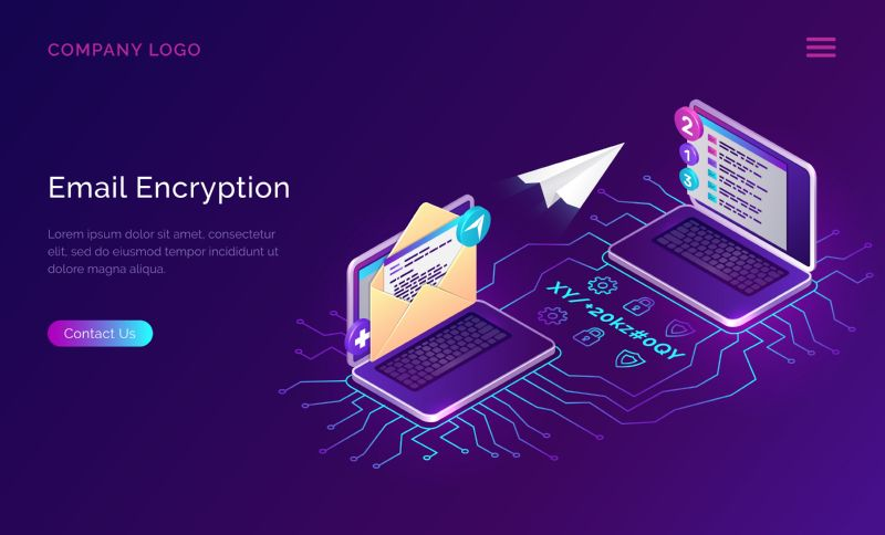 Email encryption, data security isometric concept vector.  #809