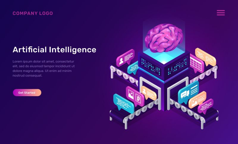 Artificial intelligence or ai isometric concept vector  #804