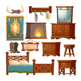 Cowboy bedroom interior set with bed, nightstand,  #856