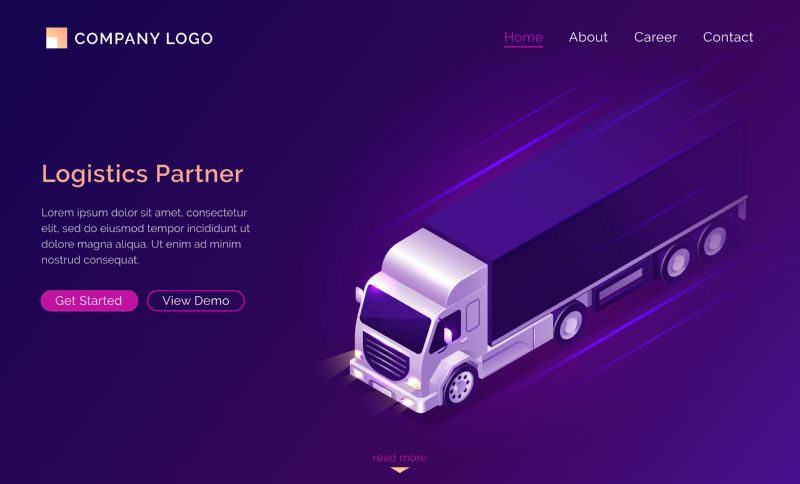 Logistic partner isometric landing page, truck car  #601