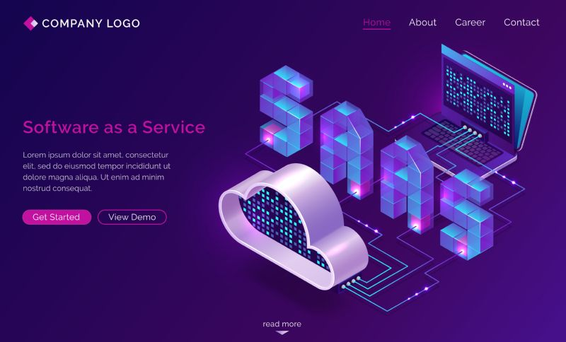 Saas, software as a service isometric landing  #688