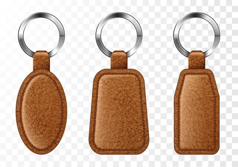 Leather keychains, chinese brown keyring holders with  #109