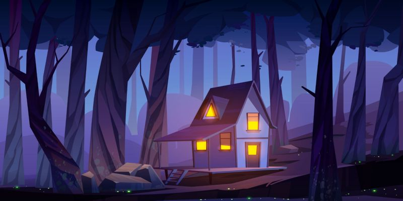Wooden stilt house in night forest. Old  #346