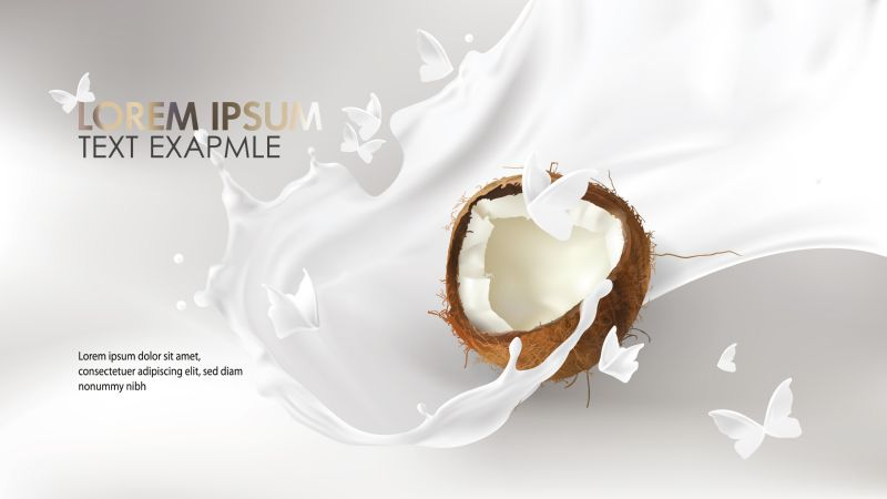 Coconut milk splash swirl realistic vector background.  #874
