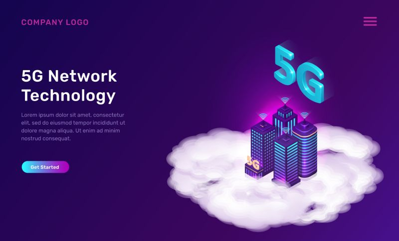 5G network technology, isometric concept vector illustration.  #484