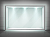 Glass wall frame, transparent showcase with spotlight  #816
