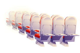 Airplane seats rear view isolated. Economy class  #450