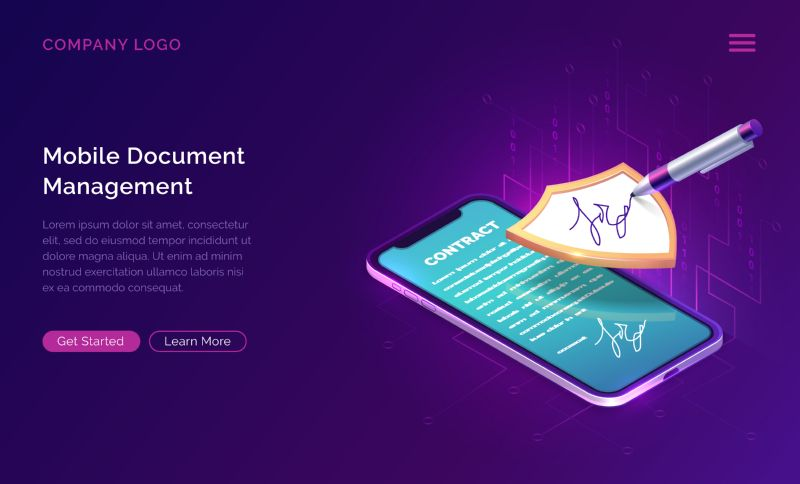 Mobile document manager business concept vector isometric  #333