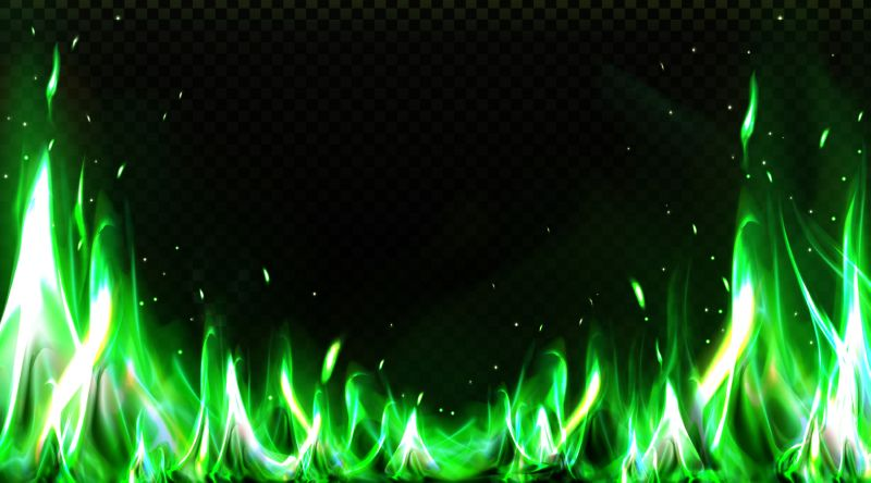 Realistic green fire border, burning flame with  #596