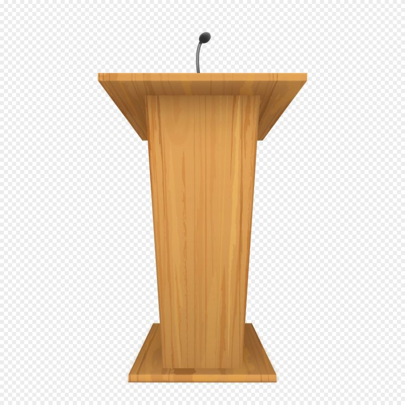 Wooden podium or pulpit with microphone for  #543