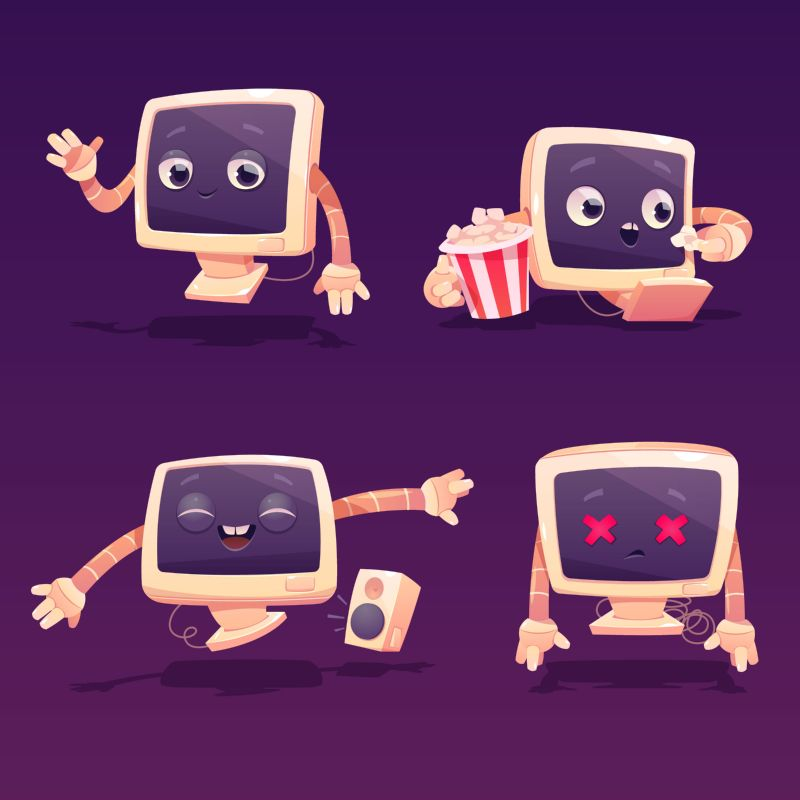Cute computer character in different poses. Vector  #348