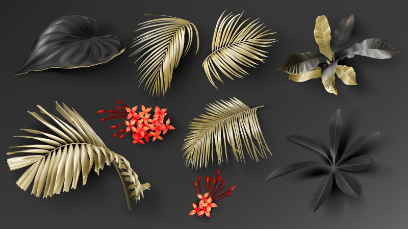 Free vector. Tropical black and gold leaves on dark  #56