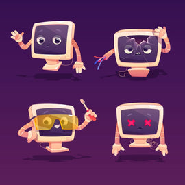 Free vector. Computer repair. Cute pc desktop character with  #414