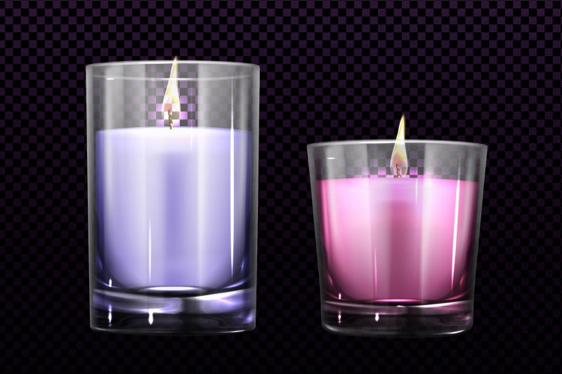 Burning candles in glass jars set isolated  #832