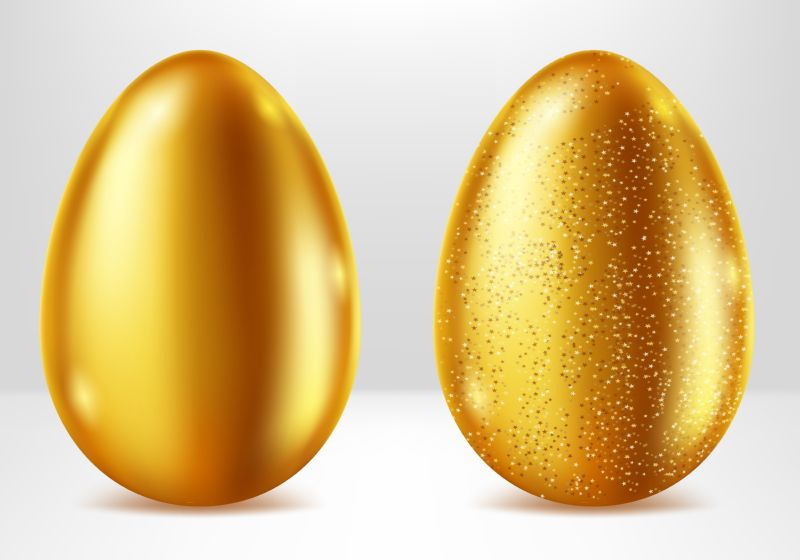Golden eggs realistic vector set illustration. Shining  #774