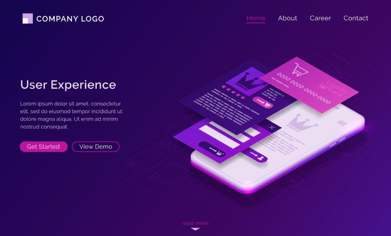 User experience, ui ux isometric landing page,  #641