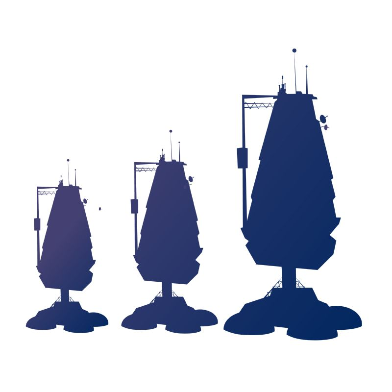 Spaceship silhouettes vector cartoon illustration. Futuristic rocket,  #708