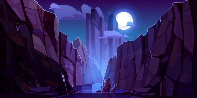 Mountain river in canyon at night. Vector  #289