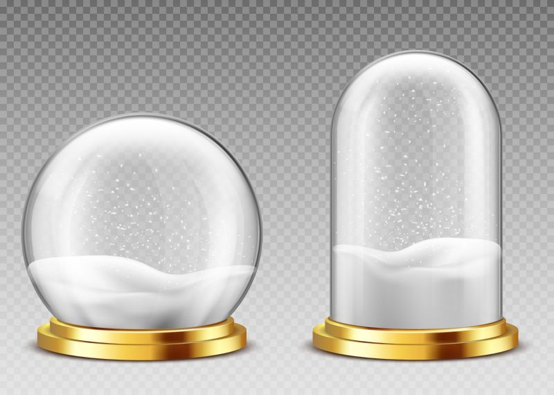 Realistic snow globe and dome, christmas souvenir  #870