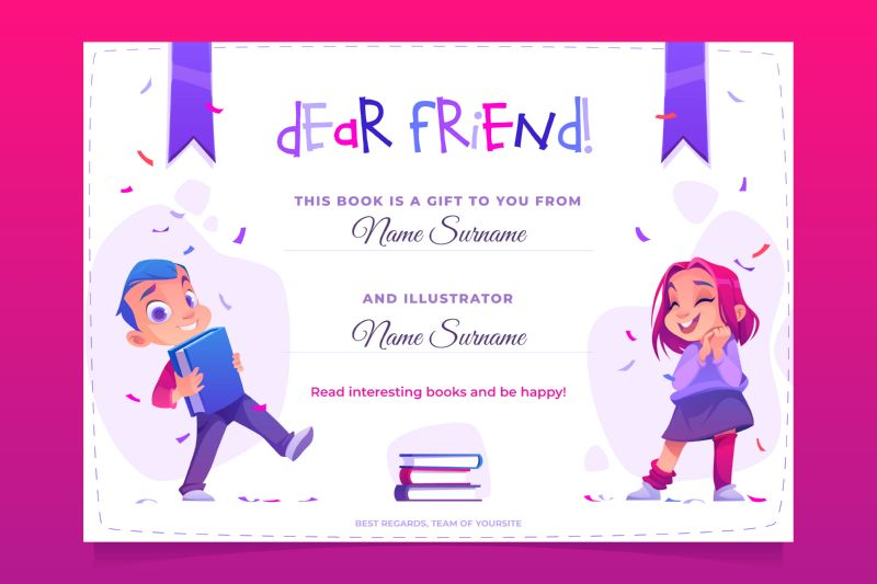 Gift book banner, present card to child.  #835
