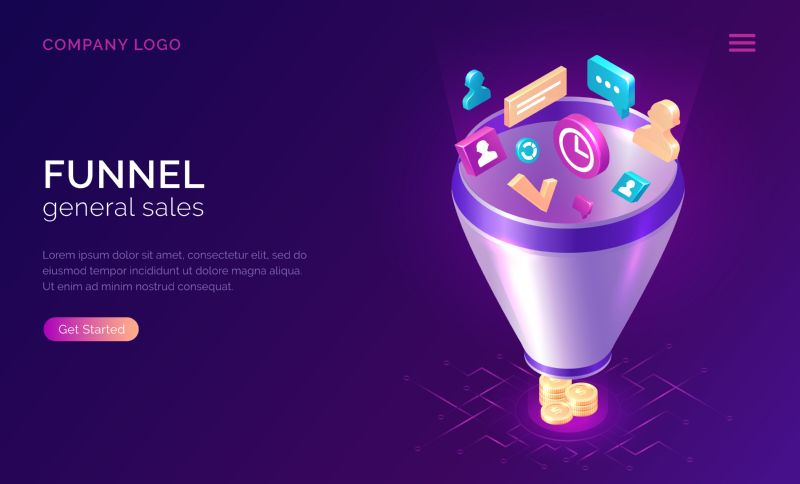 Sales funnel, isometric concept vector illustration. Marketing  #671