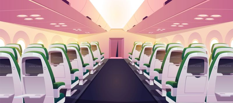 Empty airplane interior with chairs, digital screens  #102