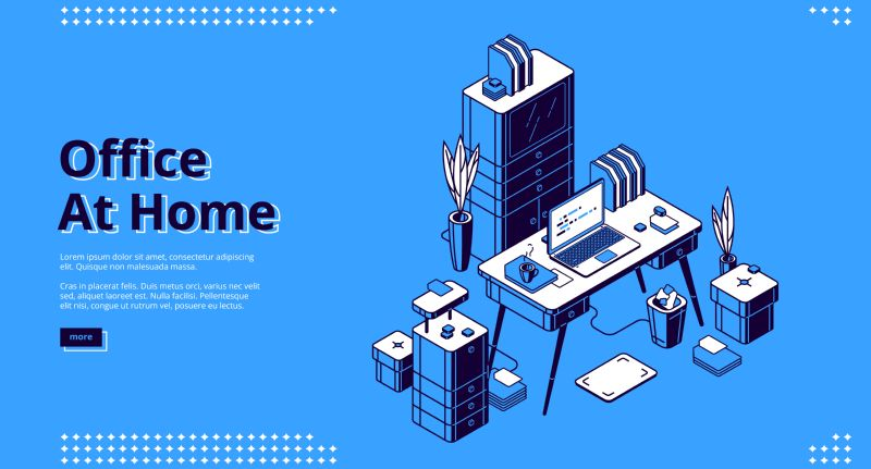 Office at home isometric landing page. Workplace  #472