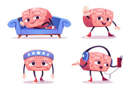 Cute brain character in different poses. Vector  #629