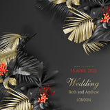 Tropical black and gold leaves on dark  #307