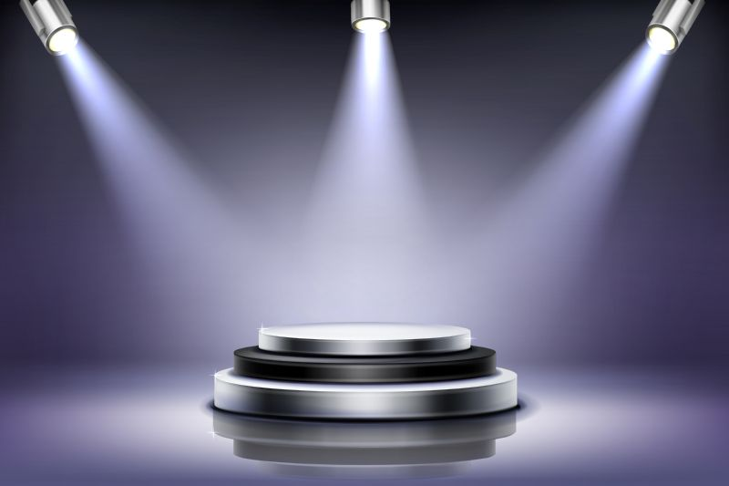 Round podium with spotlight illumination, empty stage  #828