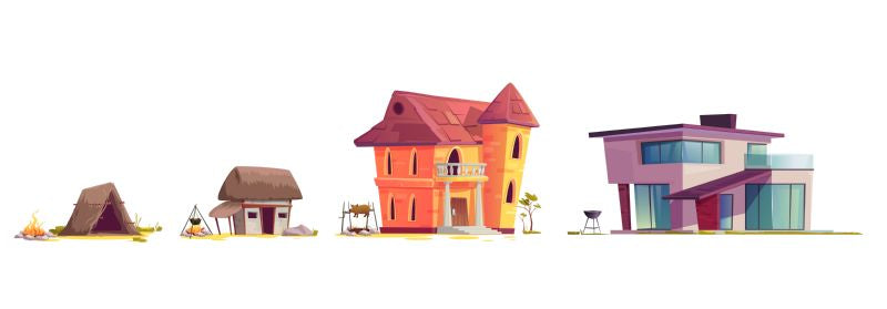 Evolution of house architecture, cartoon vector illustration.  #432