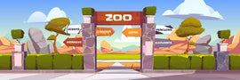 Zoo entrance cartoon vector illustration. Stone arch  #506