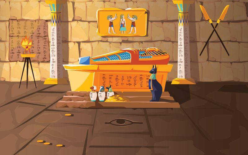 Free vector. Ancient Egypt tomb of pharaoh cartoons vector  #781