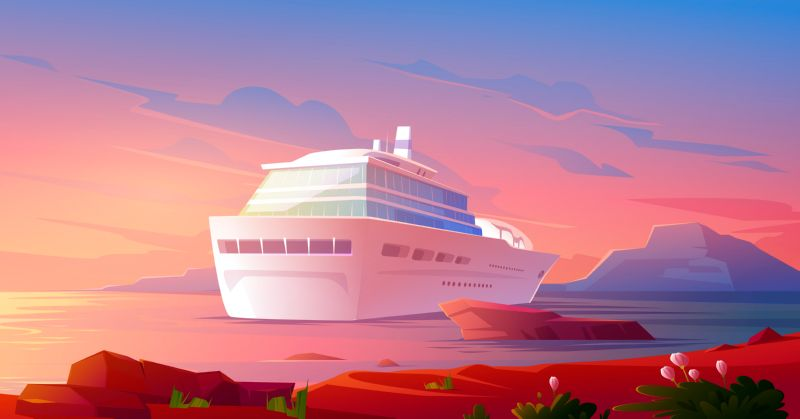 Cruise ship in ocean at sunset. Summer  #565