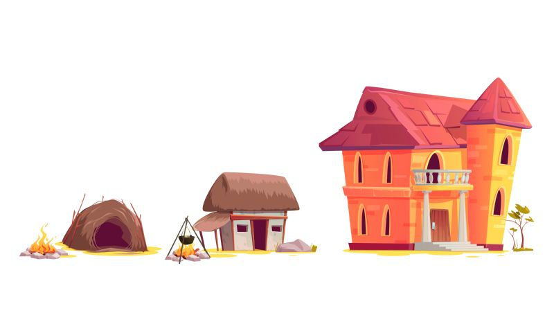 Evolution of house architecture, cartoon vector illustration.  #431