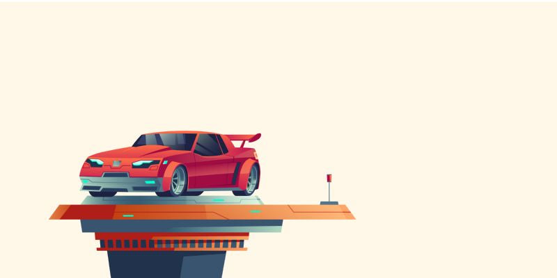 Red sport car on futuristic extendable platform  #503