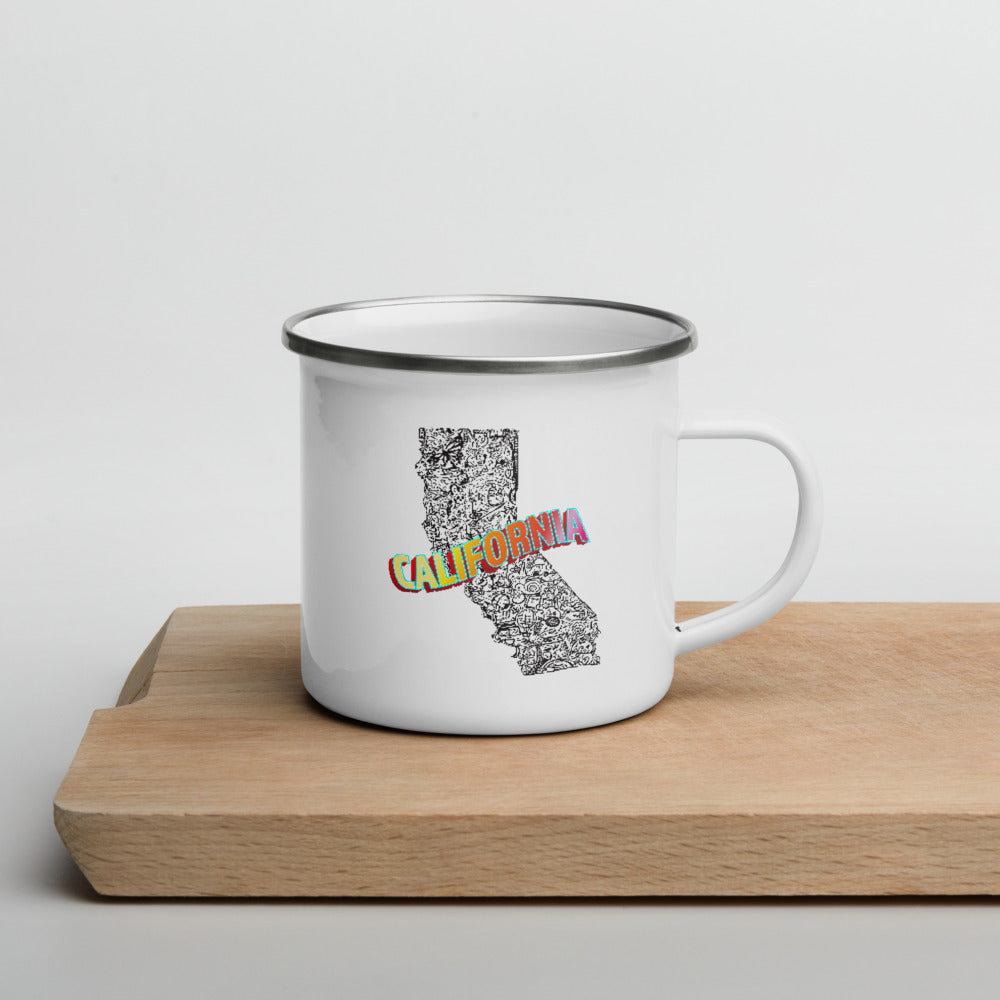 California Collage Enamel Mug