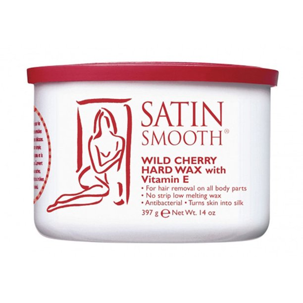 Satin Smooth Wild Cherry Hard Hair Removal Wax with Vitamin E 14oz.