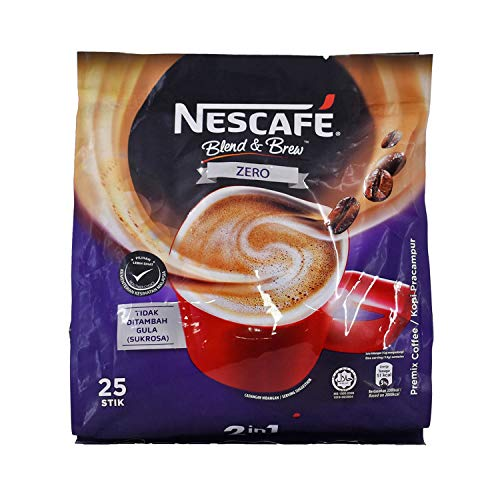 Nescafe ZERO - 2 in 1 Unsweetened Instant Coffee Packets (No Added Sugar) - Single Serve Sugar Free Coffee Mix (25 Sticks)