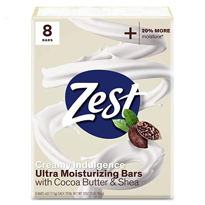 Zest Cocoa Butter & Shea Bar Soap - 8 Bars Soap 4Oz Each